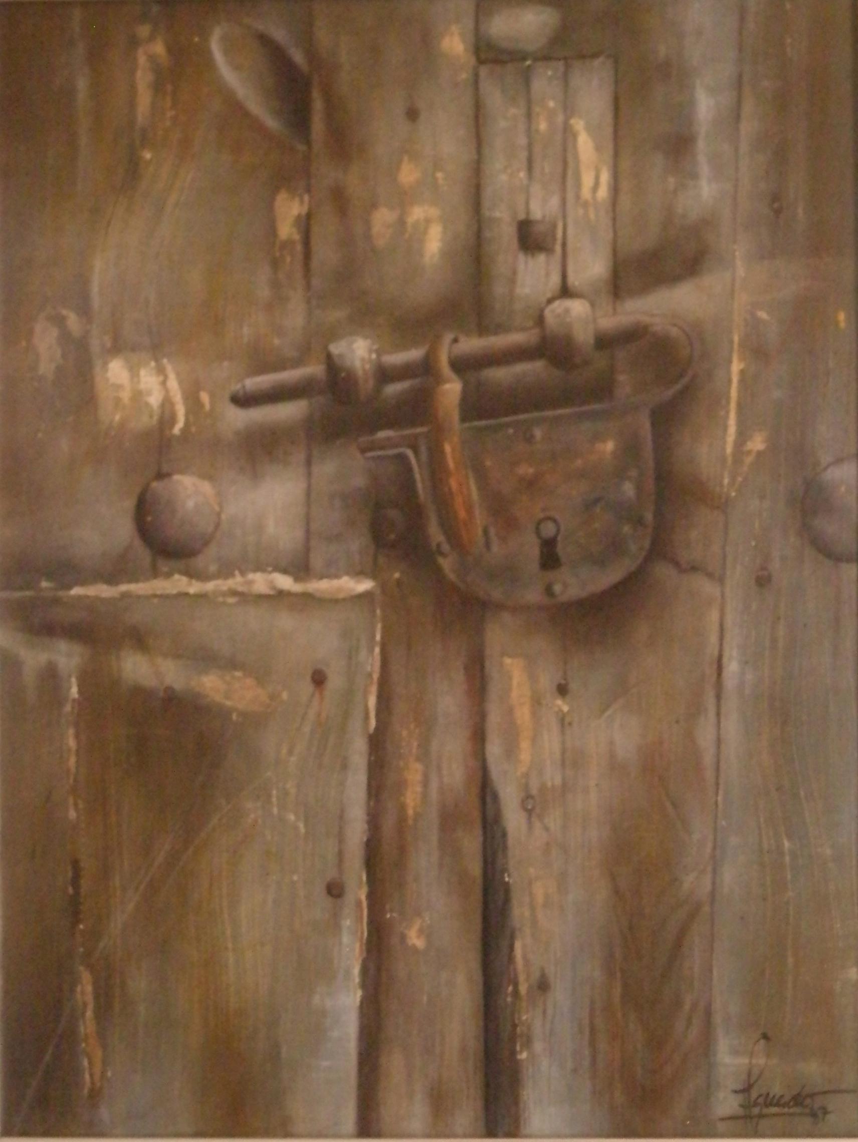 José Antonio Aguado Grijalba CANDADO Óleo sobre tabla. 34 x 25,5 cm. 1987