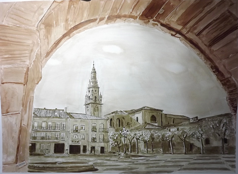 web 359.-Plaza de Sto. Domingo de la Calzada. 100 x 70 cm.